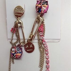 Betsey Johnson New Magenta Mismatch Earrings